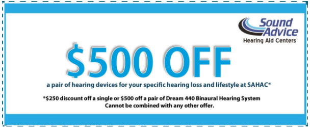 500 off - Coupon for hearing aids in Maryland or Delaware